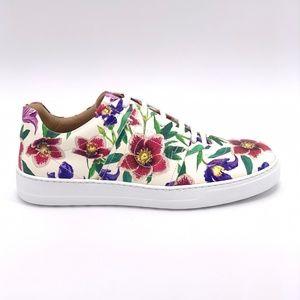 SALVATORE FERRAGAMO FASANO White Floral Sneakers